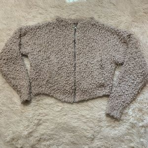 Abercrombie & Fitch Nubby Oatmeal Cropped Jacket